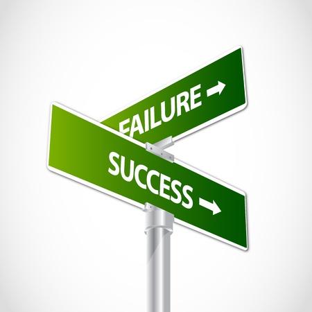 different courses: Success Failure sign Illustration
