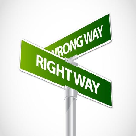 right of way: Right way, Wrong way sign Illustration