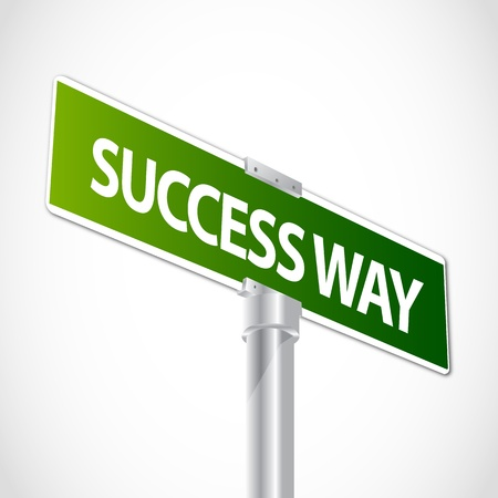 Success Way Sign Illustration