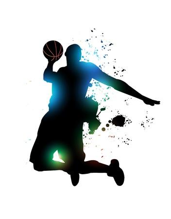 抽象的なバスケット ボール選手  イラスト・ベクター素材