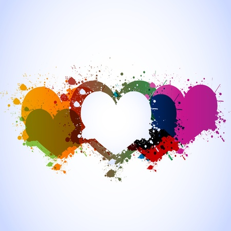 colorful grunge hearts background Vector