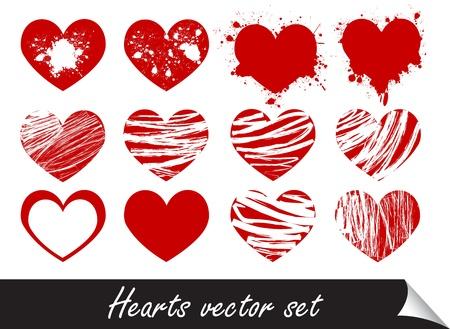 grunge corazones conjunto ilustración