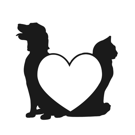 Kat en hond liefde logo Stock Illustratie