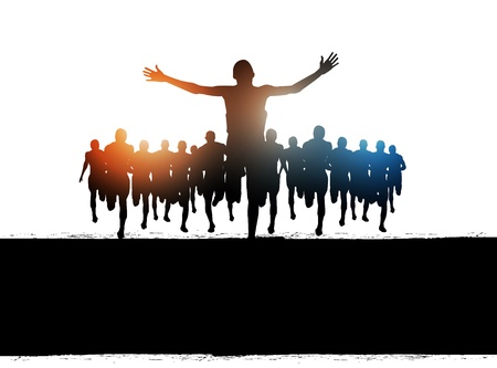 finishing line: Marathon Runners Vector