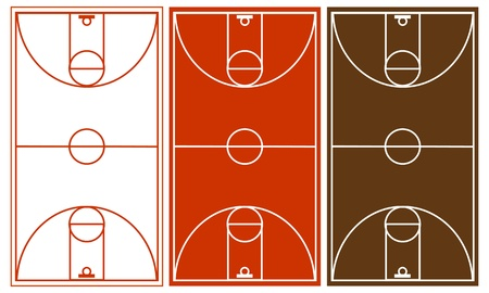 terrain de basket: Vecteur de basket-ball Cour Set