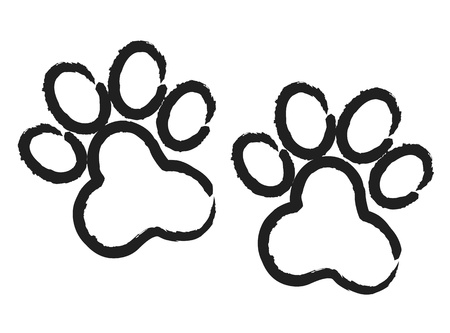 a print: Grunge paw prints Illustration