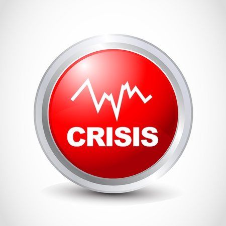 budget crisis: Crisis glossy icon Illustration