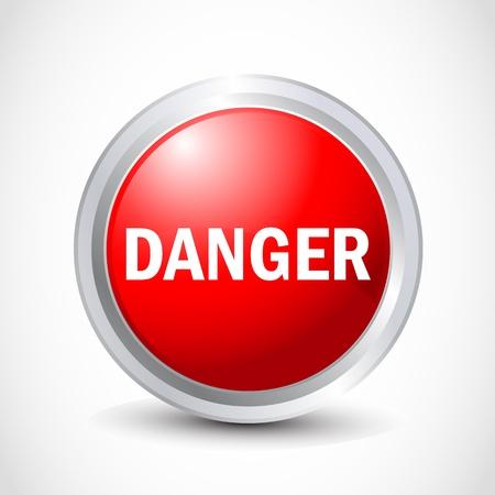 danger glossy button Stock Vector - 12840787