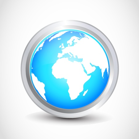 Glossy earth button Vector