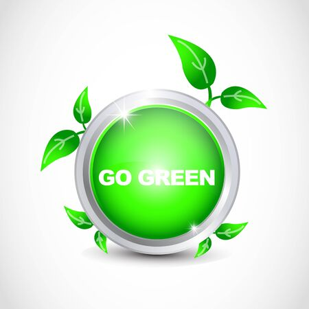 Go green glossy button Vector