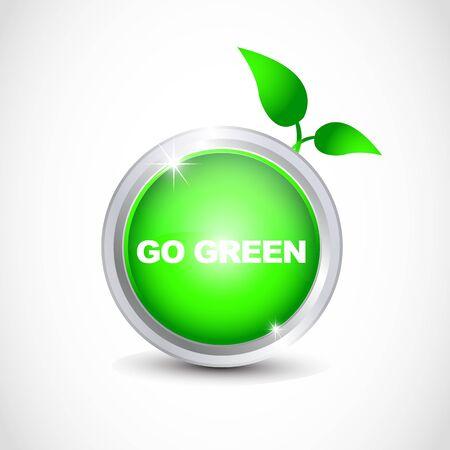 Go green ecology button Vector