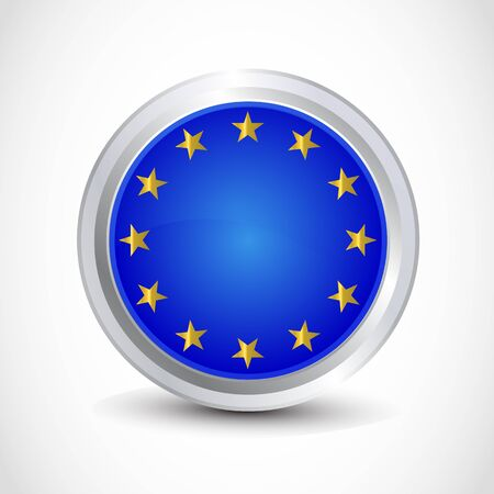 EU flag button Vector