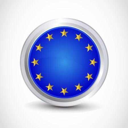 EU flag button Stock Vector - 12840754