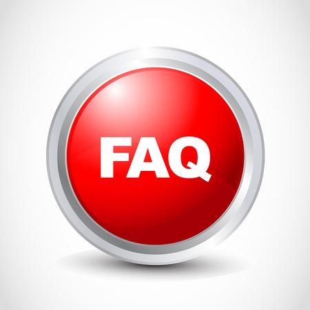 FAQ  glossy button Stock Vector - 12840784