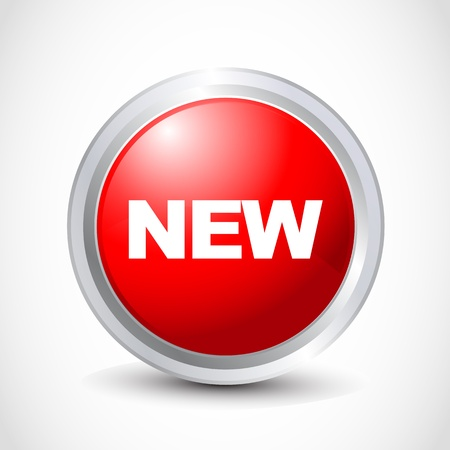 nuevo botón brillante Ilustración de vector