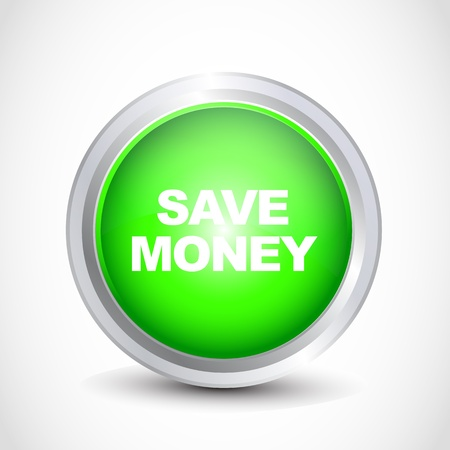 save money glossy button Vector