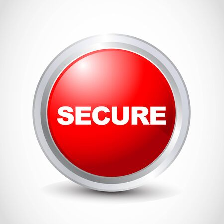 Secure glossy button Vector