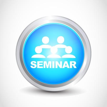 Seminar  glossy button Stock Vector - 12840771