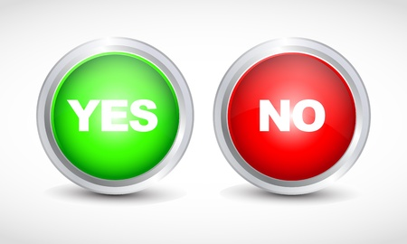 3d button: Yes No button Illustration