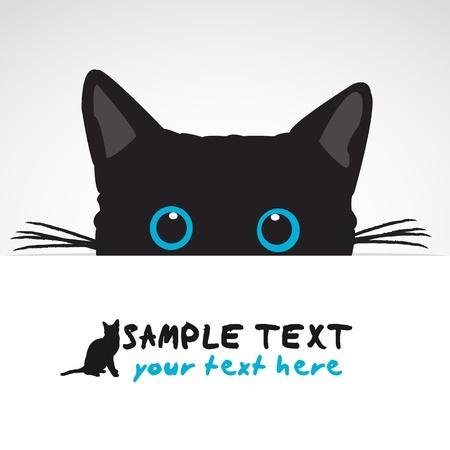 kotek: Black Cat patrząc nad sztandarem Ilustracja