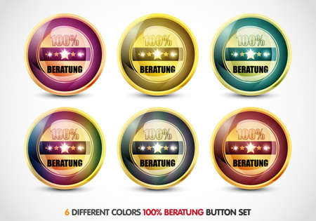 ending of service: Colorful 100  Beratung button set