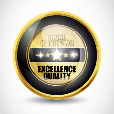 excelente: Marca del bot�n de a�os de calidad de Excelencia