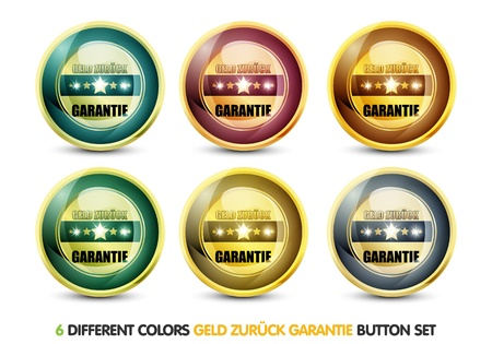 ending of service: Colorful Geld Zurück Garantie Button Set