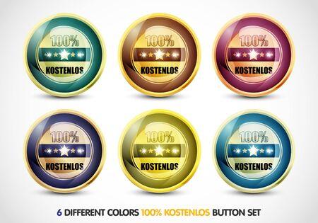 Colorful 100  Kostenlos Button Set Stock Photo - 13029013
