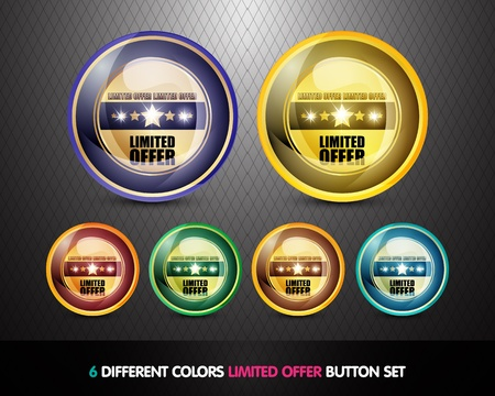 Colorful Limited Offer Button set Stock Photo - 13029028