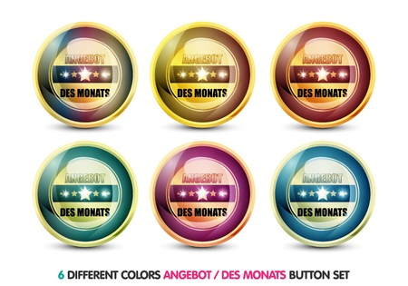 ending of service: Colorful Angebot des Monats button set Stock Photo