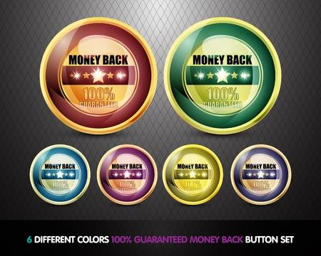 Colorful 100  Guaranteed Money Back Button Set Stock Photo - 13029041