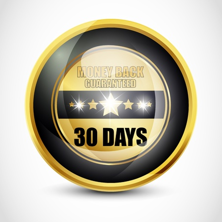 Money back guaranteed  30 Days  button photo