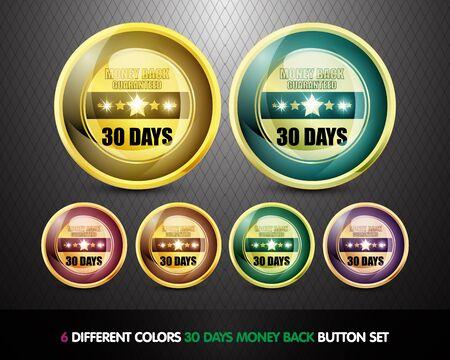Colorful Money back guaranteed  30 Days  button Set photo