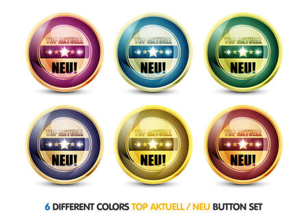 Colorful Top Aktuell  Neu  Button Set Stock Photo - 13028861