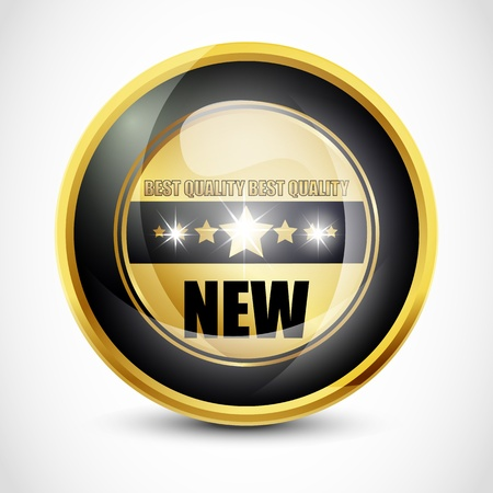 newcomer: New Glossy Button Stock Photo