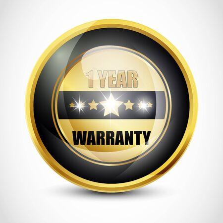one year warranty: One Year Warranty Button Stock Photo