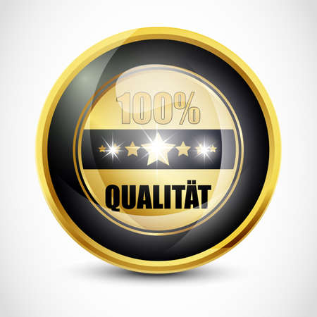 ending of service: 100  Qualitat Button Stock Photo