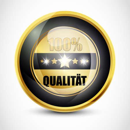 ending of service: 100  Qualitat Button Stock Photo