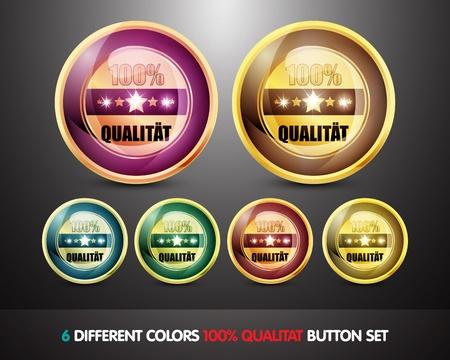 ending of service: Colorful 100  Qualitat Button Set Stock Photo