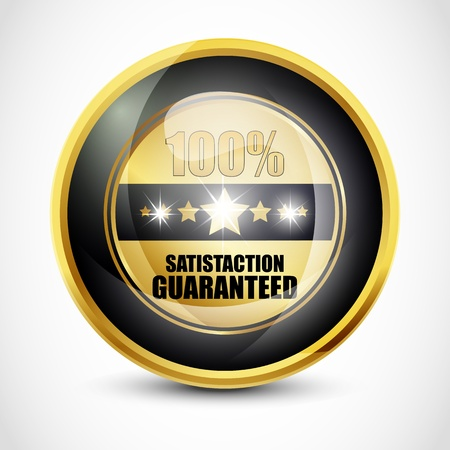 100  Satisfaction Guarantee Button photo