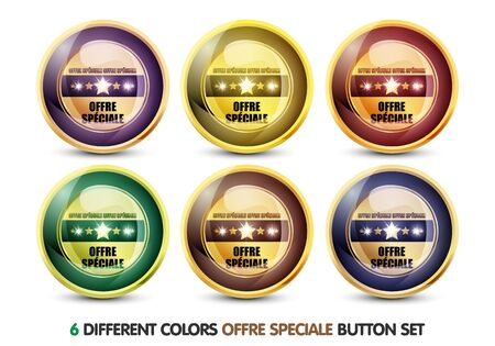 chariot: Colorful Offre Speciale button Set Stock Photo