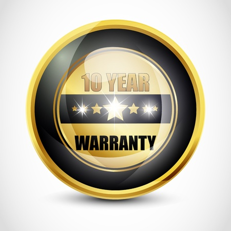 ten best: Ten Year Warranty Button Stock Photo