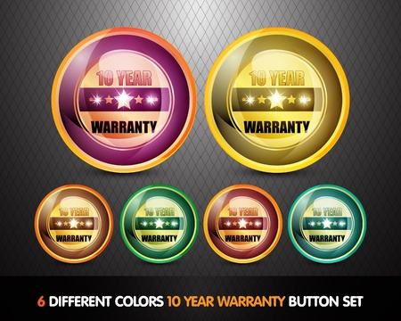 Colorful Ten Year Warranty Button Set photo