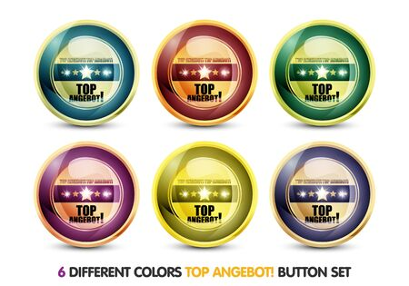 price hit: Colorful Top Angebot Button Set Stock Photo
