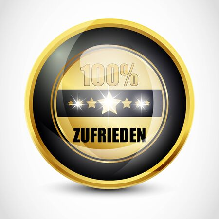 ending of service: 100  zufirieden button Stock Photo
