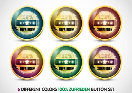 Colorful 100  zufirieden button Set Stock Photo - 13029018
