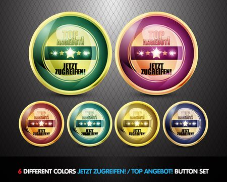 tidings: Colorful Top Angebot  Button set Stock Photo