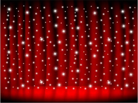 Falling stars with red stage curtain photo
