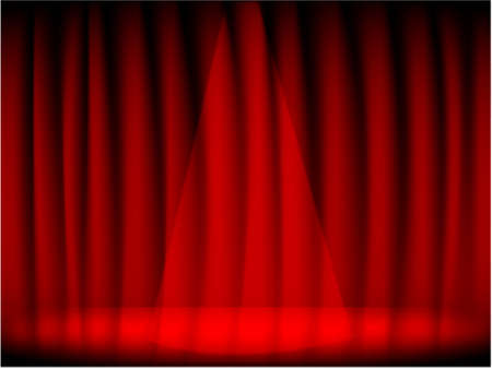 intermission: red theatre curtain and stage