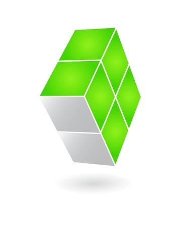 merken: 3d groene kubus-logo Stock Illustratie